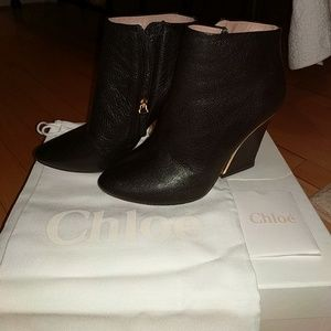 Chloe point toe leather black ankle bootie